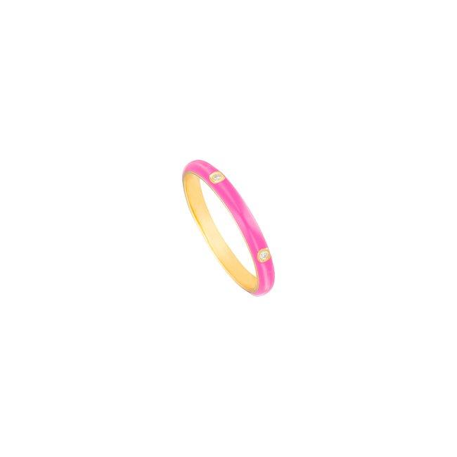 14K Yellow Gold Hot Pink Enamel Ring .jpg
