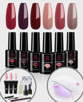 6 Color Glamour Goddess Gel Polish Set + 3 Color Natural Pink Polygel Kit + Lamp Bundle