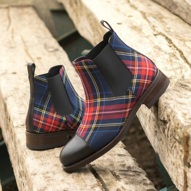 Custom-Made-Mens-Goodyear-Welt-Chelsea-Boot-Classic-in-Tartan-and-Black-Box-Calf.jpeg