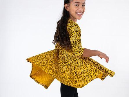 Girls Organic Three Quarter Sleeve Twirl Dress