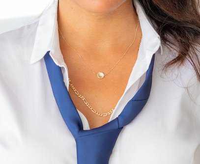 Stella Solid Gold Disc Necklace