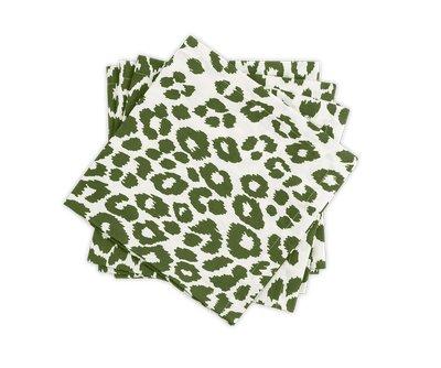 Matouk Schumacher - Iconic Leopard Napkins - Green