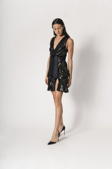 Metallic-Print Asym Wrap Dress