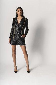 Chain-Applique Striped Leather Blazer