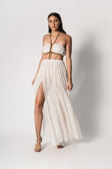 Goddess Gown with Flecked Gold Chiffon