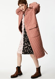 Puff Sleeve Quilted Duster Jacket