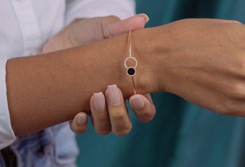 Hallie Black Agate Bangle Bracelet