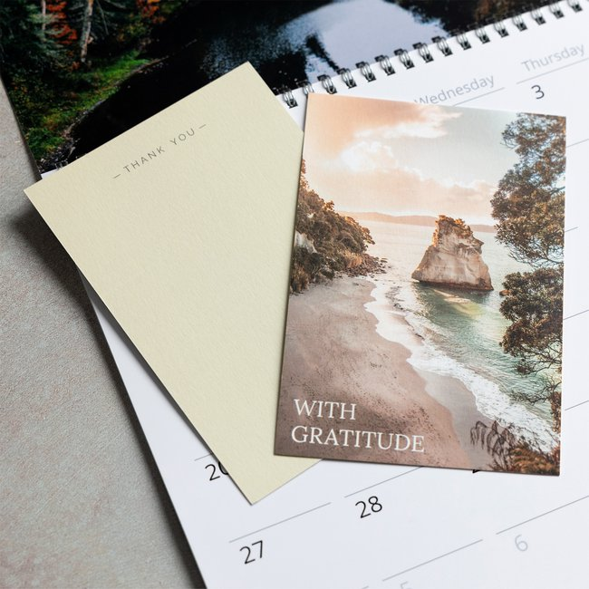 Spread your gratitude to friends and family with custom photo cards sets using text over images.jpg