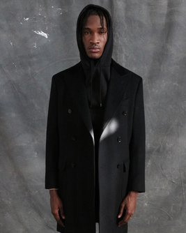 Black Double Breasted Chesterfield Overcoat