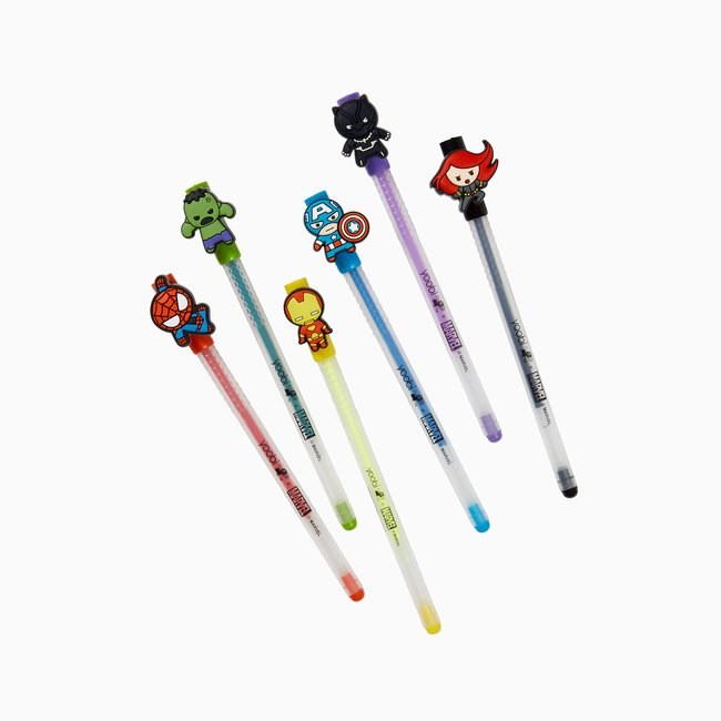 Yoobi x Marvel Avengers 6 Pack Gels Pens with Charms