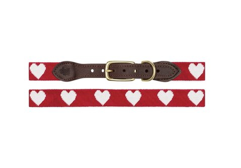 Hearts Needlepoint Dog Collar