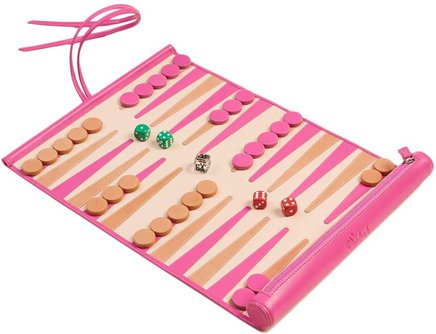 Traveler Backgammon Board in Condesa Pink