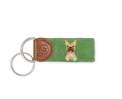 Frenchie Needlepoint Keychain